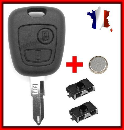 2 Switchs Bouton Coque Plip Clé Télécommande Pour Peugeot 106//206//107//207//307//