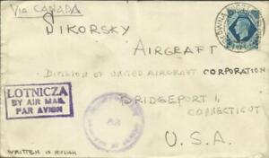 Great Britain SG#474 POLISH FORCES 3/III/45 Airmail WWII Censor to SIKORSKY