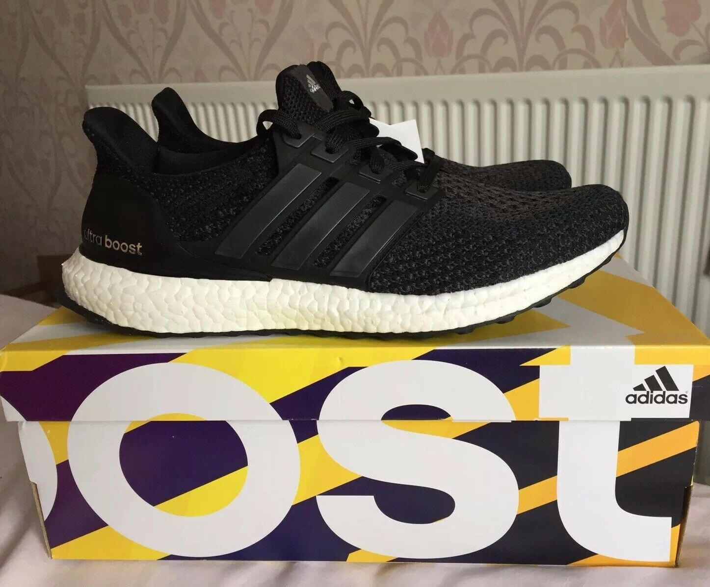 Nuevo Y En Caja Adidas Ultra Boost 2.0 Core Negro blancoo PK nos 8.5 Ultraboost