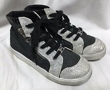Michael Kors Malaga High Tops Sneakers Youth Girls 2 Black Silver Glitters Shoes