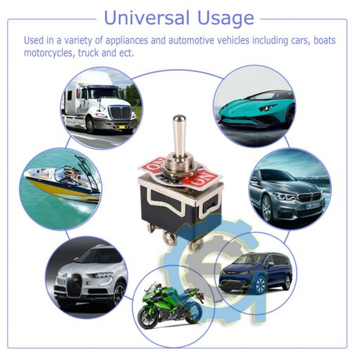 Toggle SWITCH ON//OFF//ON Heavy Duty 20A 125V SPDT 3 Terminal Car Waterproof BOOT