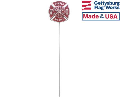 Cemetery Memorial Flag Holder Made In USA Fire Department Aluminum Grave Marker