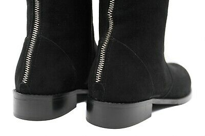 Goody2shoes Ladies Leather Full Length Black Boots with Heels and Stud Design