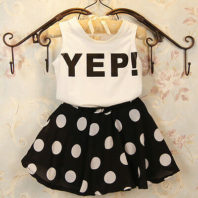 2pcs Toddler Baby Girls Infant Outfits Tops T-shirt+Skirt Dress Kids Clothes Set