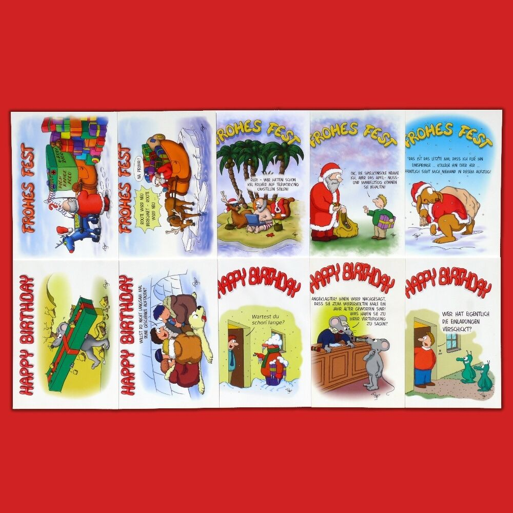 25 50 100 witzige Weihnachtskarten,Geburtstagskarten,Postkarten,lustige Cartoons  | Online Shop Europe  | Attraktives Aussehen