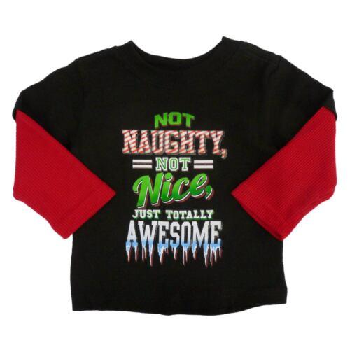 Holiday Time Infant /& Toddler Boys Naughty Nice Awesome Christmas T-Shirt