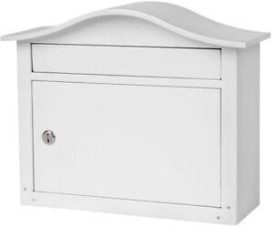 Wall Mount Lockable Mailbox Saratoga White Weather