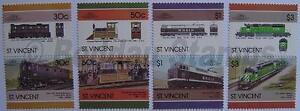 1986 St Vincent Ensemble # 6 Train Locomotive Chemin De Fer De Timbres (les Dirigeants Du Monde)