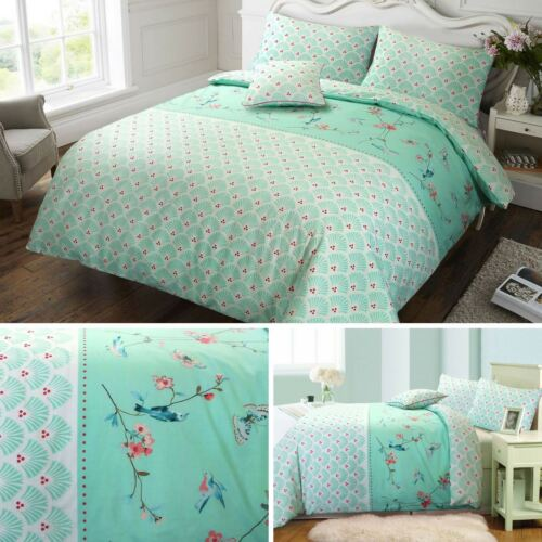 Sophie Birds Floral 100/% Cotton Reversible Mint Duvet Cover /& Pillowcase Set