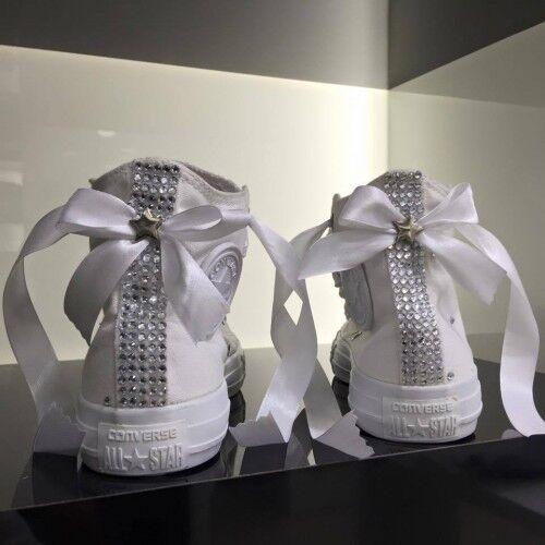 con All Converse Swarovski Producto personalizado tachuelas Bo Star mano hechos Zapatos a zqqpxTw