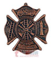 Fireman's Plaque Cast Iron Rustic Firefighter Symbols Wall Decor Maltese Cross