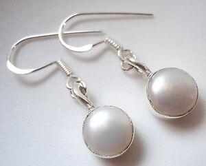 Cultured Pearl Circle in Square 925 Sterling Silver Dangle Earrings Corona Sun