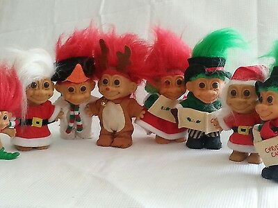 Random Lot of Russ Holiday Trolls - 8 figures. please see pics