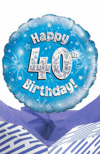 Image Is Loading 40th Birthday Blue Balloon In A Box Gift