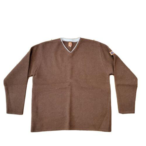 Vintage Natural Born Fleece V Neck Brown Size Medi