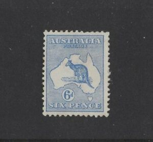 1913-Australia-Roo-6d-ultramarine-SG-9-mint-with-hinge-remnant-attached