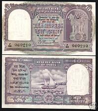 BLACK BOAT UNC  BANKNOTE RARE COLLECTIBLE INDIA 10 Rupees OLD RARE NOTES 1 PCS