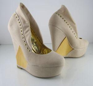 "new ladies skintone 65""high wedge heel 2""platform round"
