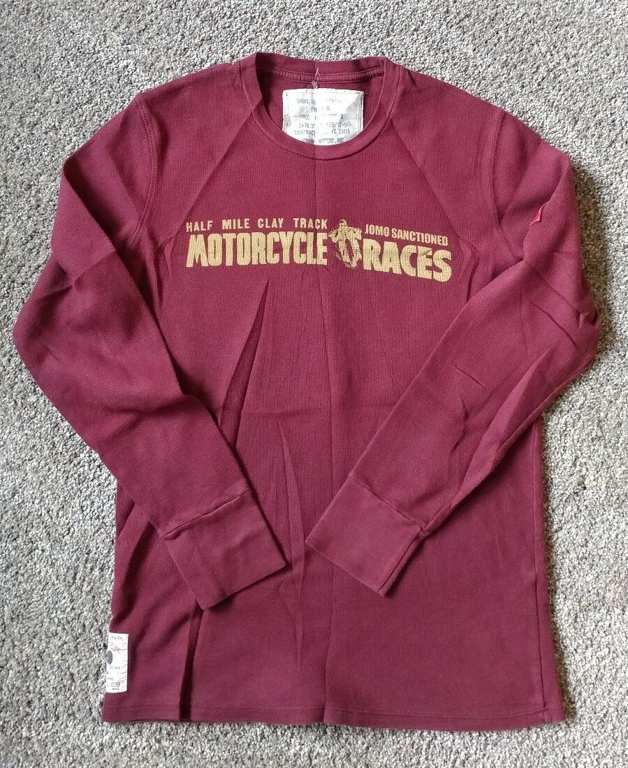 Johnson Motors Thermal Long Sleeve Maroon Shirt Medium