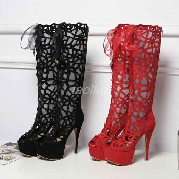 Womens Peep Toe Knee High High High Sandal Boots Platform Stilettos Hollow Roman shoes sz efdb69
