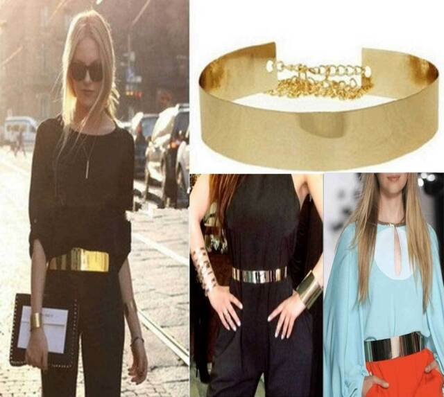 "Gold Metal Mirror Belt Women Fashion High Waist Plate Wide Obi Band  30""-36"" NEW"