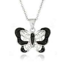 Black Diamond Accent Butterfly Necklace, 18""
