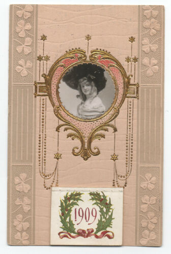 1909 Calendar Postcard w Inset Photo Beautiful Woman