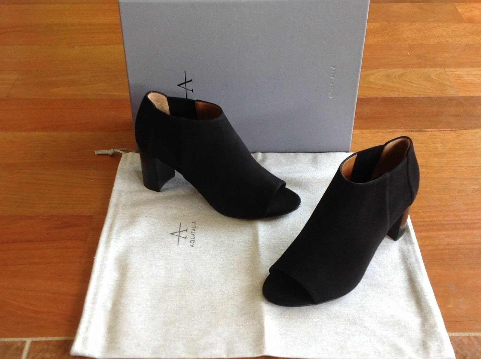 495-Aquatalia Shaw Suede Ankle Open-toe Peep-toe Booties-black-sz 6.5-NIB