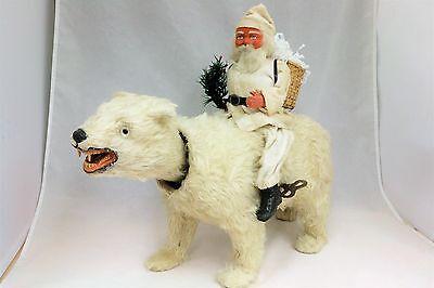 Santa on Polar Bear Windup Nodder Saint Nickolas 1920's Vintage German Christmas