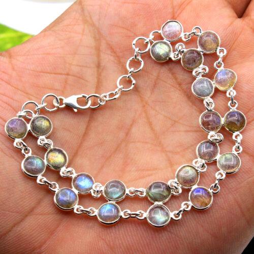 "Natural Labradorite Round Gemstone Bracelet 925 Sterling Silver Jewelry 7.75/"""