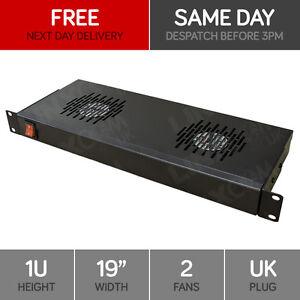 Linxcom-1U-48-3cm-Rackmount-2-Wege-Luefter-Papierzufuehrung-UK-Stecker-Schwarz