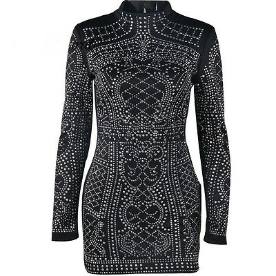 Tight Geometric Studded Party Dress High Neck Long Sleeves Black Mini Retro #MO