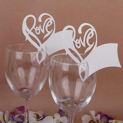 50pcs Love Heart Table Mark Wine Glass Name Place Card Wedding Party Decoration