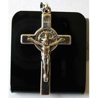 1.5 Silver St Benedict Cross Crucifix Necklace Pendant Blessed By Pope Francis