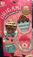 3-D Origami 12 Cupcake Baking Dessert Paper Folding Craft Kit Patterns w Mat NIB
