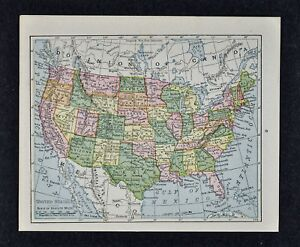 Map Of Texas To Florida.1917 Mcnally Map United States America Texas California Florida