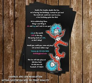 dr seuss thing one thing two chalkboard birthday invitation