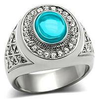 10x8 Mm 316 Stainless Steel March Aquamarine Stone Dome Cut Men's Ring Size 13
