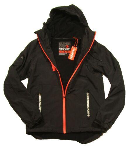 Superdry Sport Men/'s Black Training Tech Cagoule Lightweight Zip Hooded Jacket