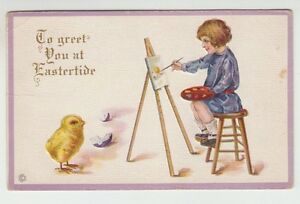 49703-1918-POSTCARD-TO-GREET-YOU-AT-EASTERTIDE-by-STECHER-LITHO-SERIES-77C