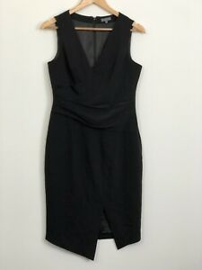 SHEIKE-Womens-Black-Sleeveless-V-Neck-Lined-Business-Workwear-Dress-Size-10