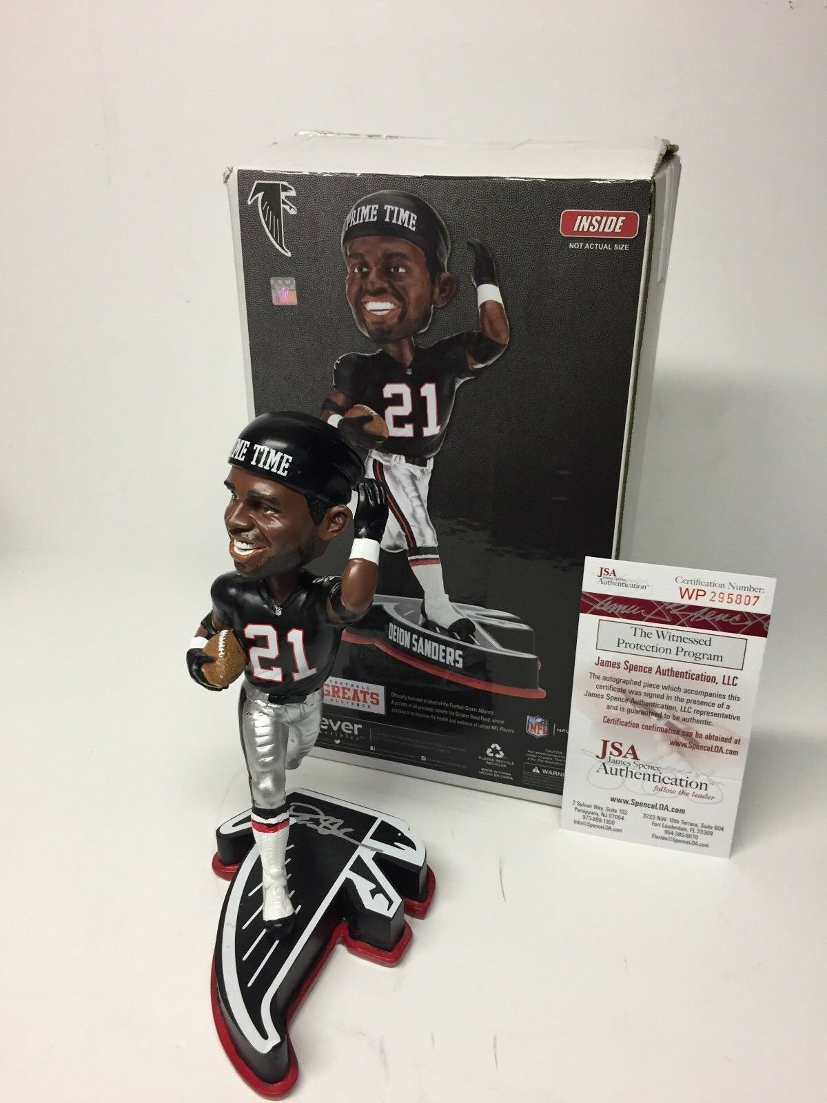Deion Sanders Signed Atlanta Falcons Legend Of The Field Football Bobblehead JSA