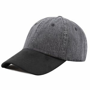 Cotton-Denim-Baseball-Cap-with-Suede-Bill-Combo-Two-Tone-Cap
