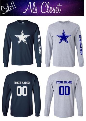 Dallas Cowboys Star Logo Football Long Sleeve Shirt with Custom Name
