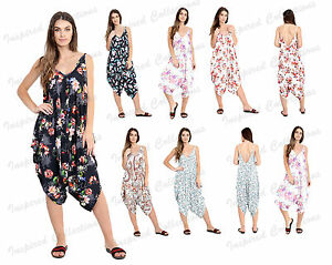 Women Strappy Cami Lagenlook Romper Hareem Style Baggy printed Jumpsuit Playsuit