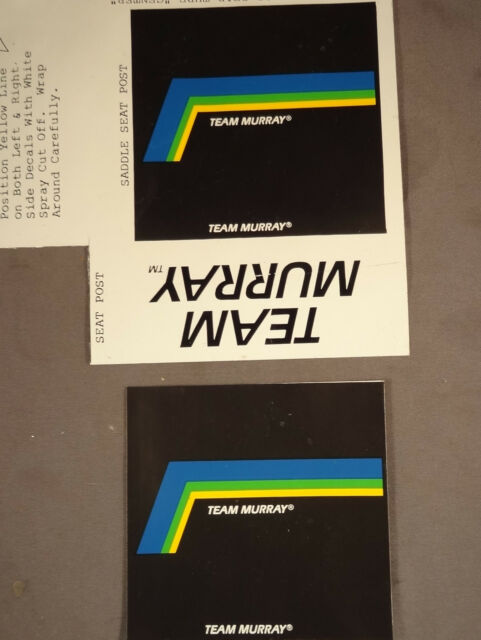 Team Murray Seatpost Seat Post Decals Stickers for Old School BMX Bike