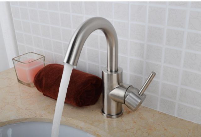 Deck Mount Brushed Nickel 304 Stainless Steel Basinu0026Vessel Sink Faucet  Mixer Tap