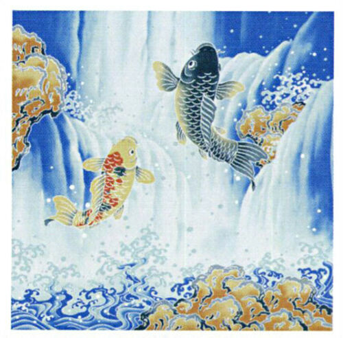 Beautiful fabric GIFT WRAPPING CLOTH Japanese Fighting Carp Furoshiki Free ship