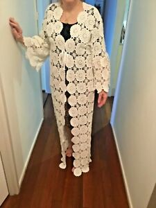 WHITE-VINTAGE-UPCYCLED-CROCHET-DUSTER-BOHO-DUSTER-WEDDING-KIMONO-MAXI-JACKET