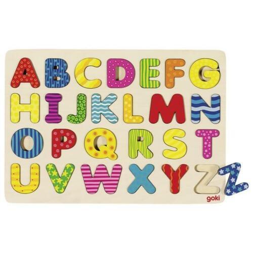 Goki Alphabetpuzzle Holz ABC Buchstaben Lernpuzzle Setzpuzzle Lernspielzeug NEU